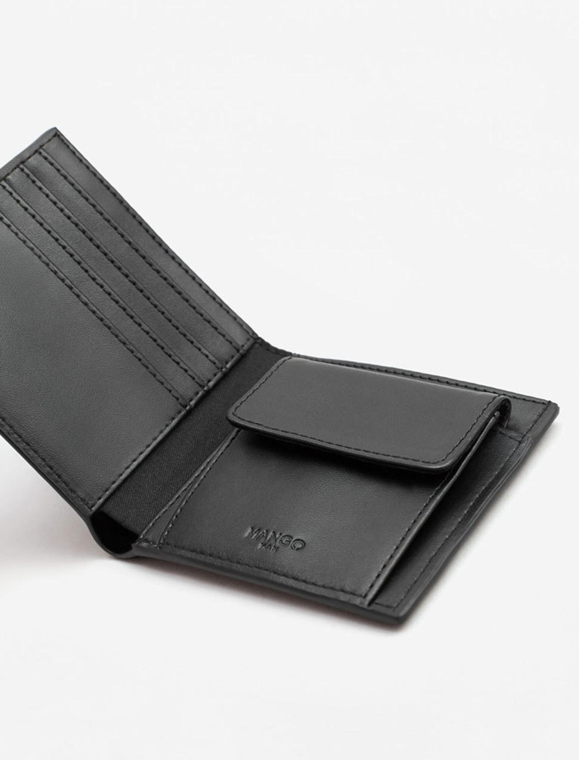 کیف پول کتابی مردانه - مانگو - مشکي - 2