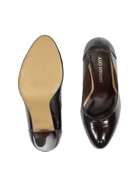 کفش پاشنه بلند چرم زنانه - شهر چرم - قهوه اي - 2