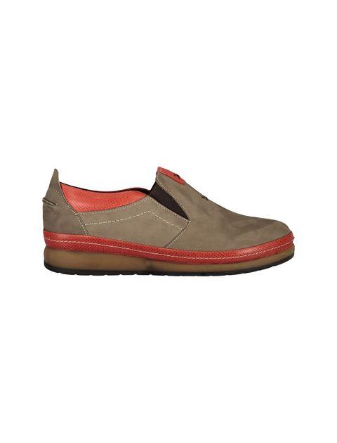 کفش تخت جیر زنانه - شهر چرم - خاکي و قرمز - 1
