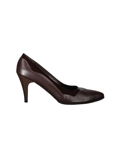 کفش پاشنه بلند چرم زنانه - قهوه اي - 1