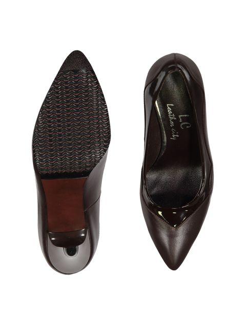 کفش پاشنه بلند چرم زنانه - قهوه اي - 2