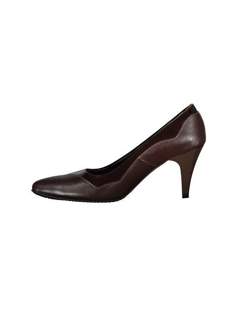کفش پاشنه بلند چرم زنانه - قهوه اي - 3