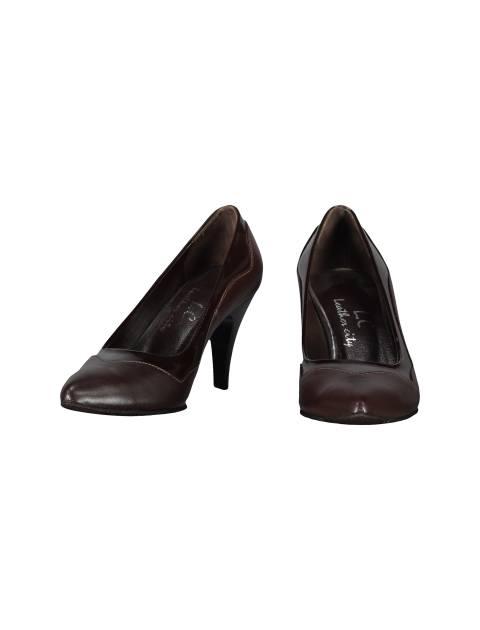 کفش پاشنه بلند چرم زنانه - قهوه اي - 4