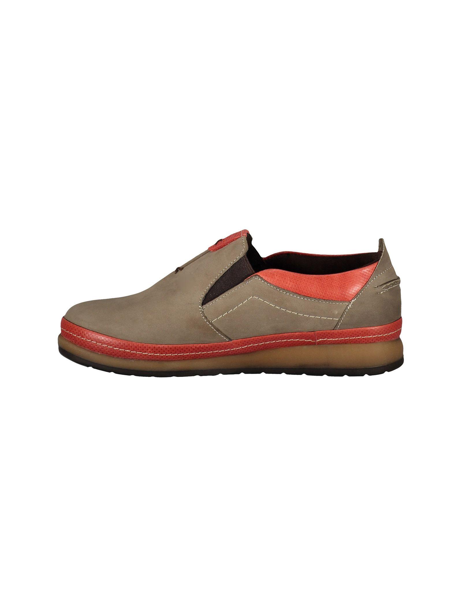 کفش تخت جیر زنانه - شهر چرم - خاکي و قرمز - 2