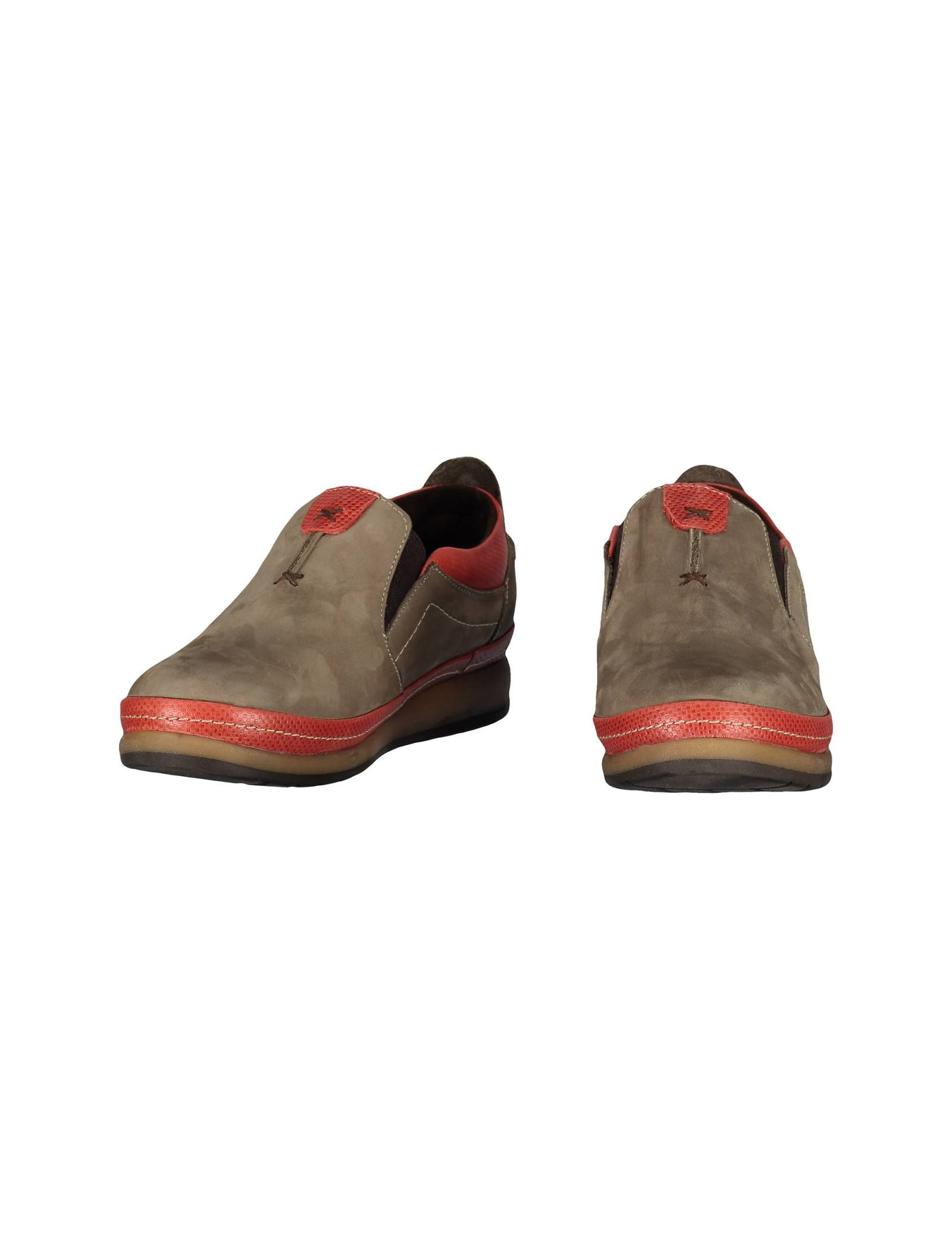 کفش تخت جیر زنانه - شهر چرم - خاکي و قرمز - 3