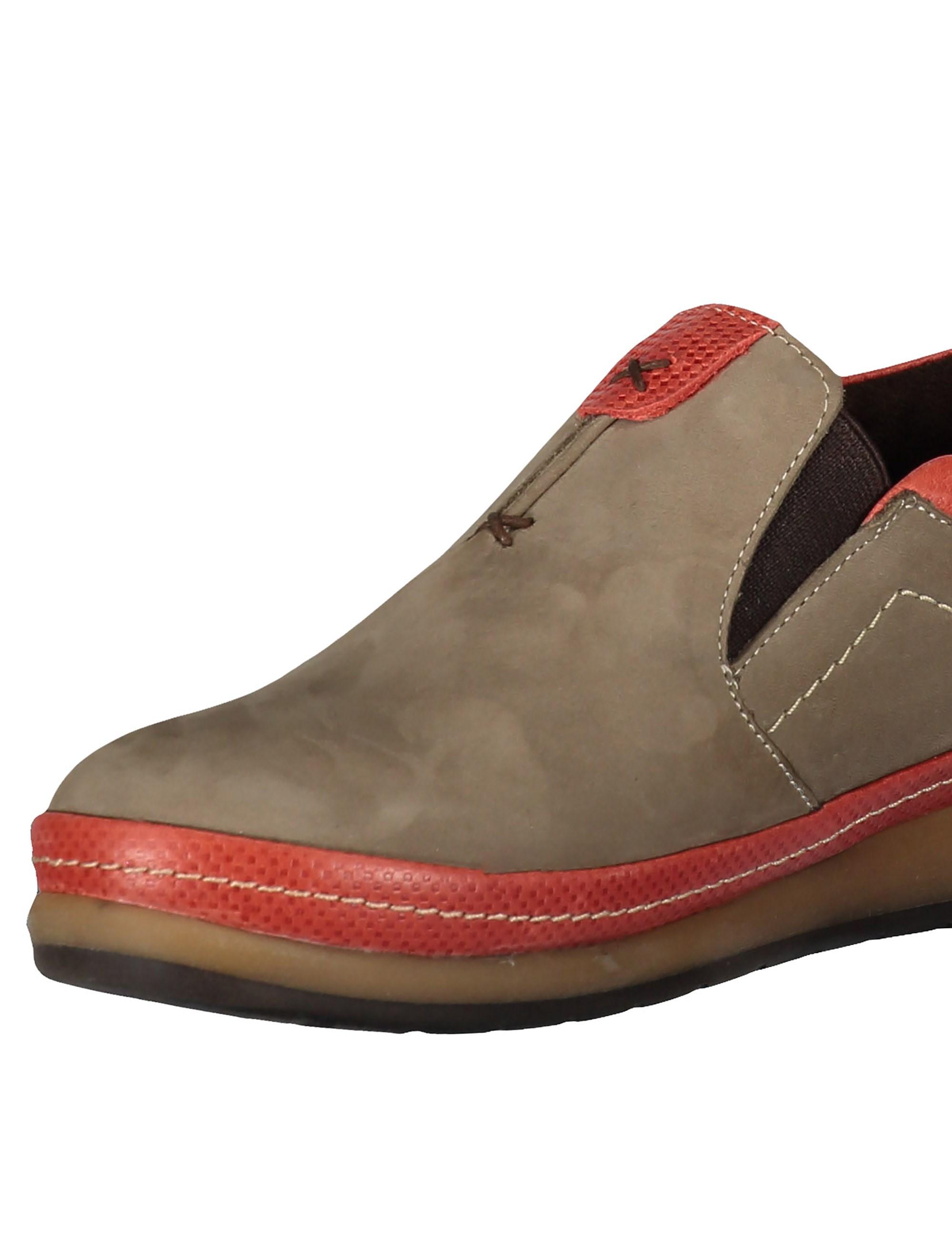 کفش تخت جیر زنانه - شهر چرم - خاکي و قرمز - 5