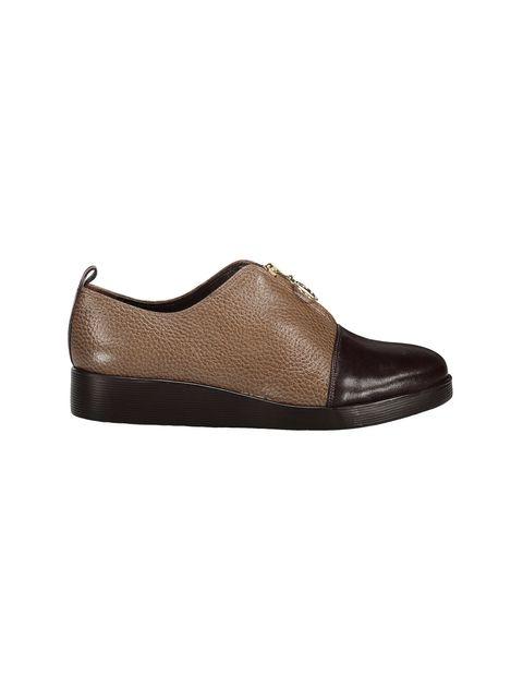 کفش چرم تخت زنانه - کرم  - 1