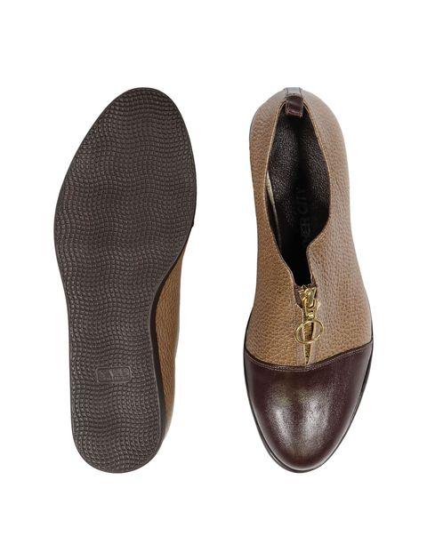 کفش چرم تخت زنانه - کرم  - 2
