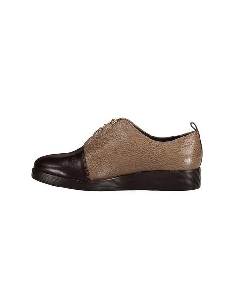 کفش چرم تخت زنانه - کرم  - 3