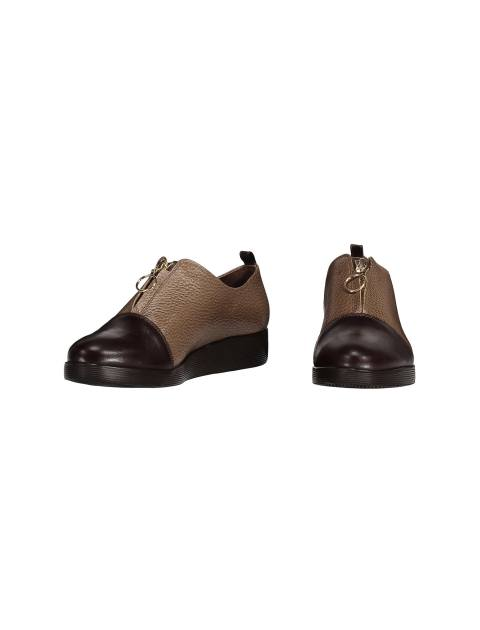کفش چرم تخت زنانه - کرم  - 4