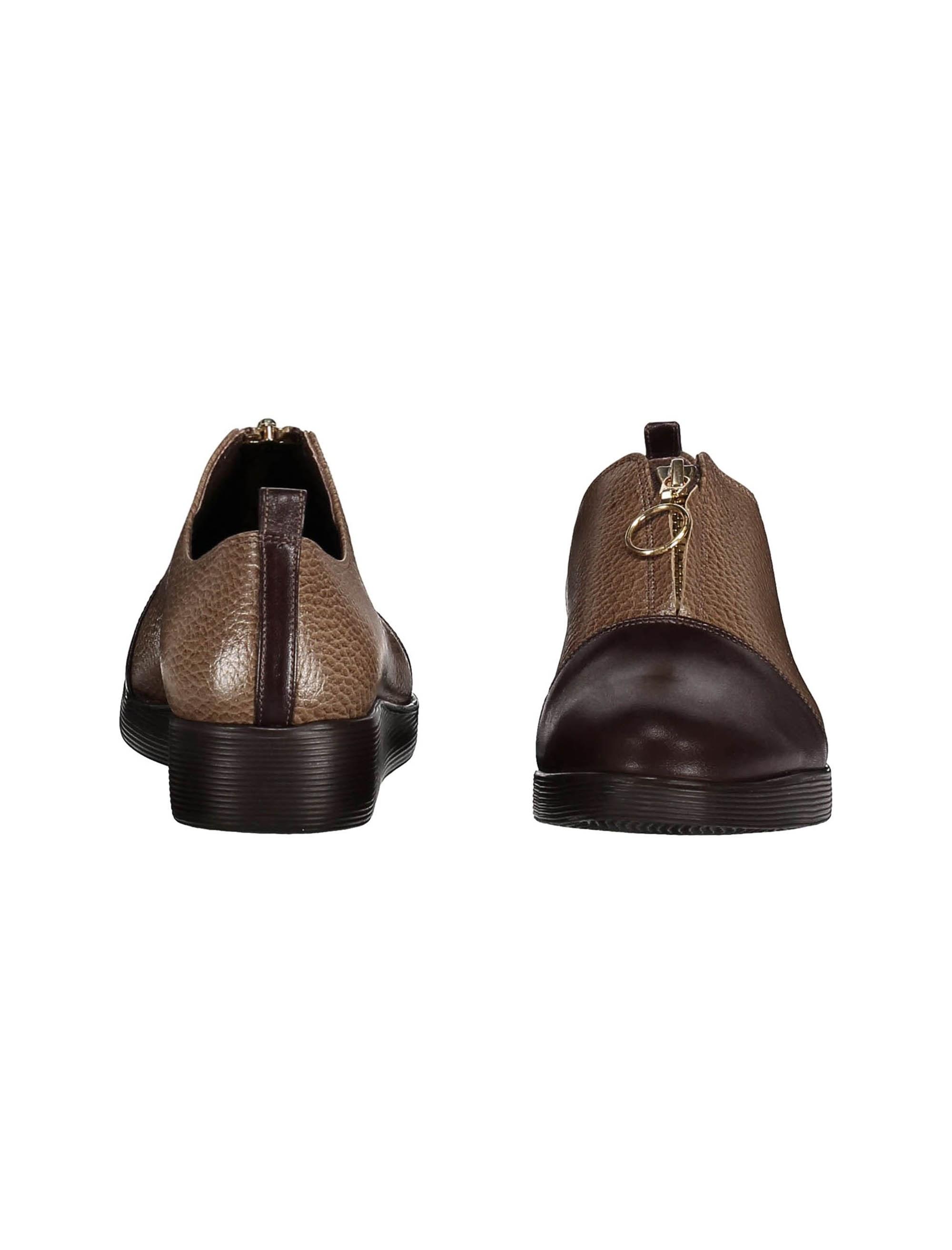 کفش چرم تخت زنانه - کرم  - 5