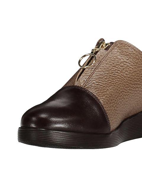 کفش چرم تخت زنانه - کرم  - 6