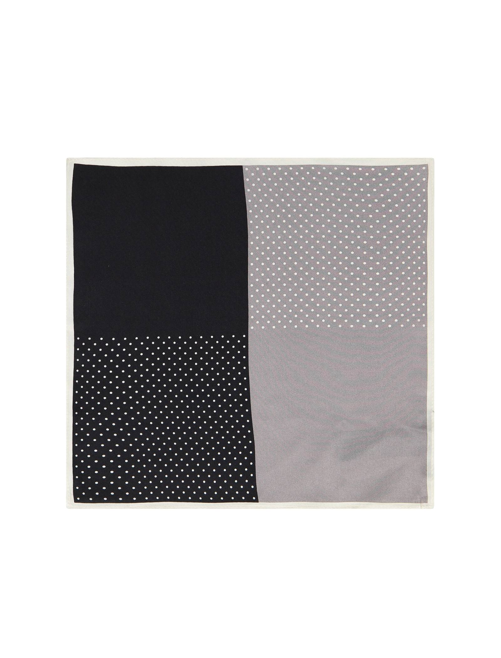 دستمال گردن ابریشم طرح دار مردانه - مانگو - مشکي و طوسي - 1