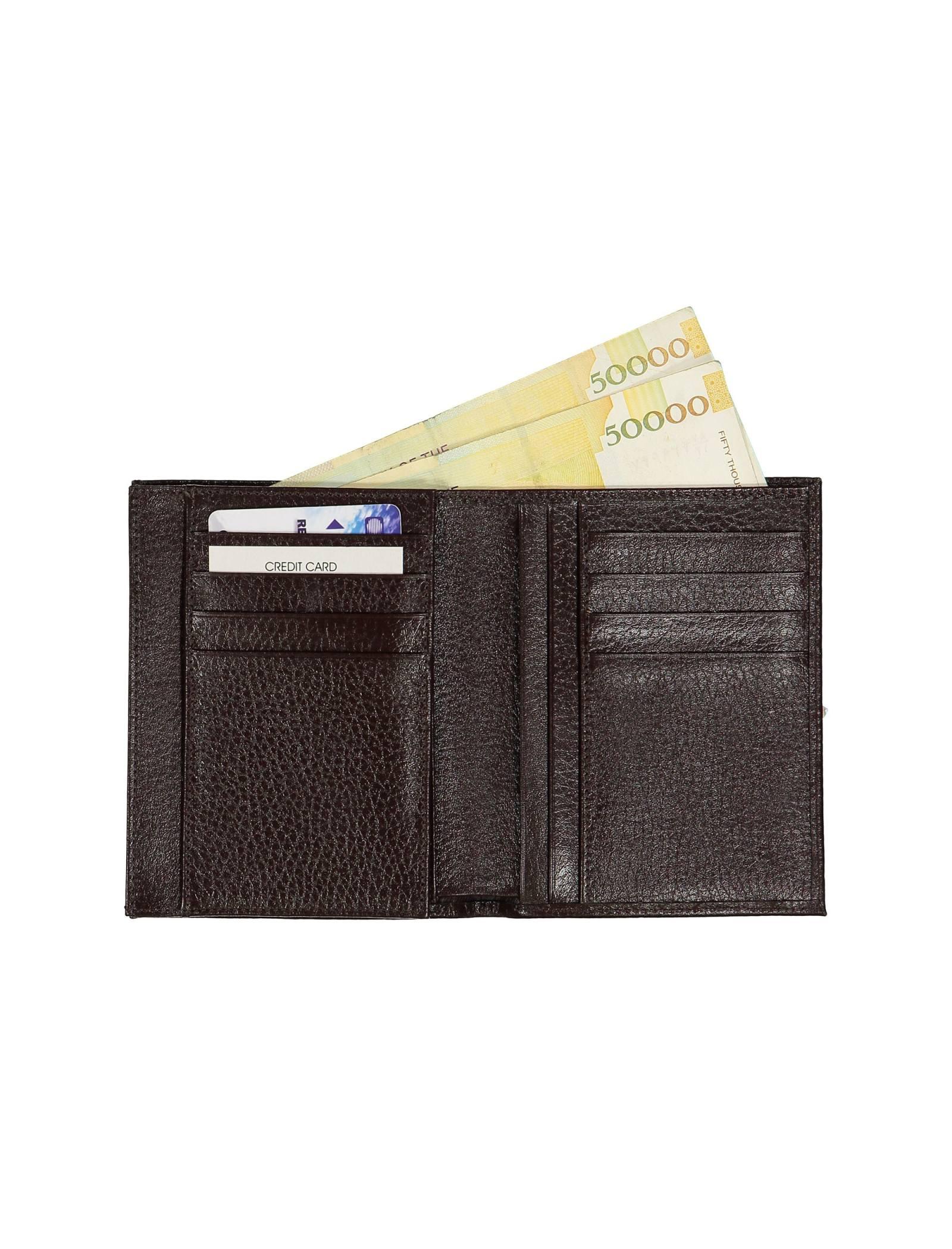 کیف پول چرم کتابی مردانه - چرم مشهد - قهوه اي - 5
