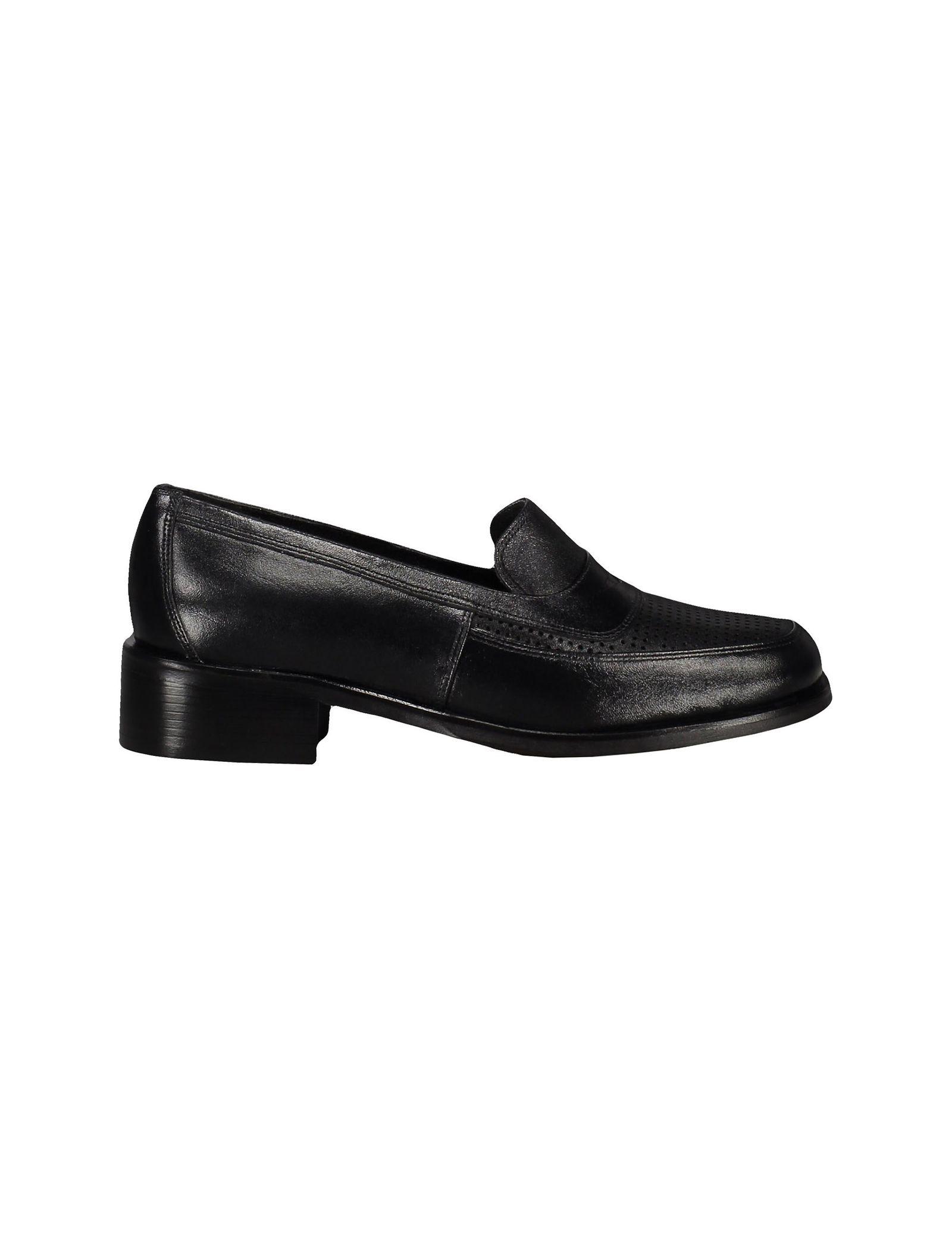 کفش چرم تخت زنانه - شهر چرم - مشکي - 1