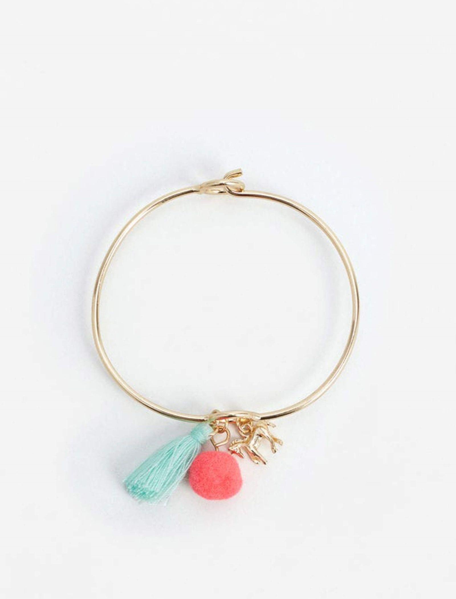 دستبند فلزی دخترانه - مانگو - طلايي - 1