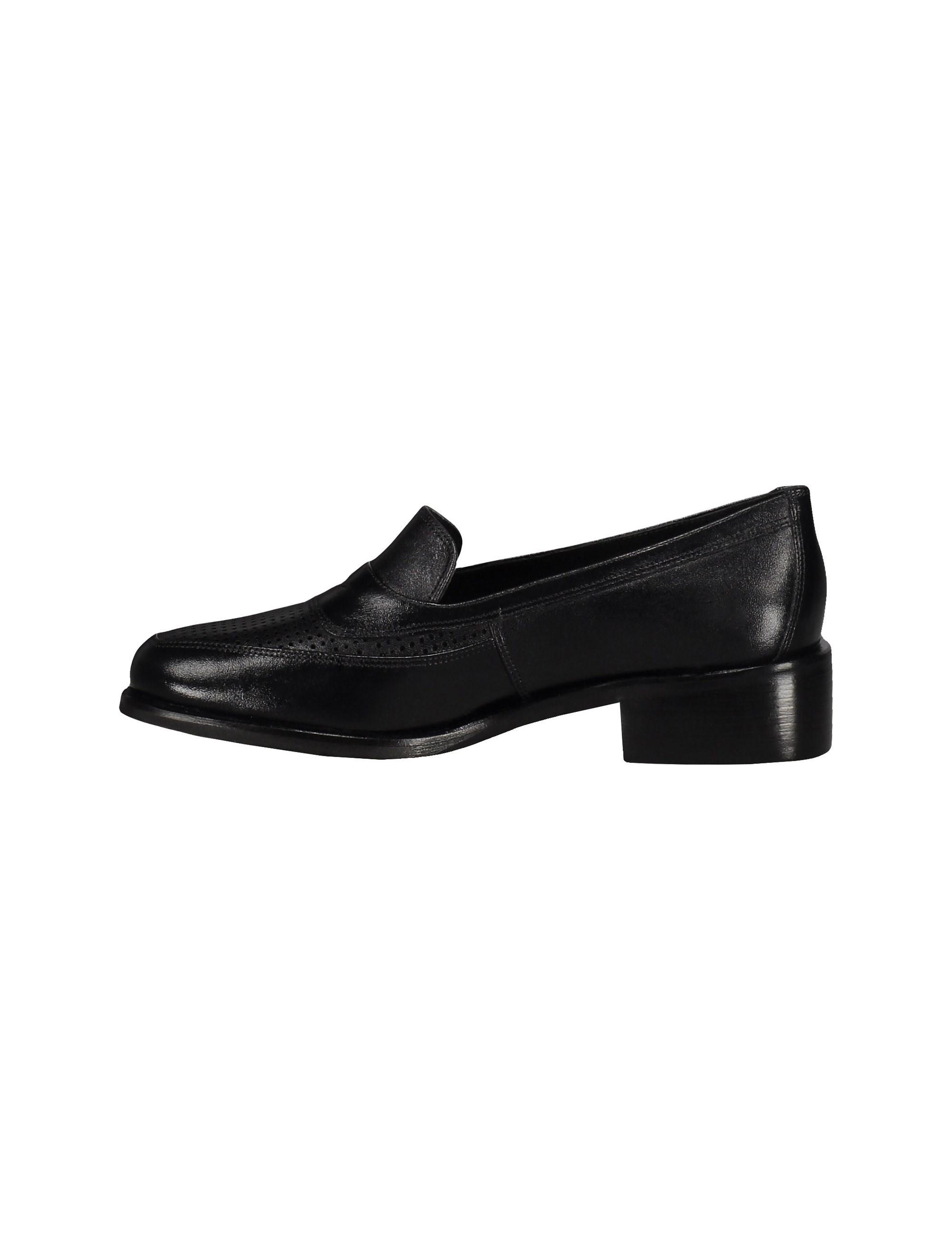 کفش چرم تخت زنانه - مشکي - 3