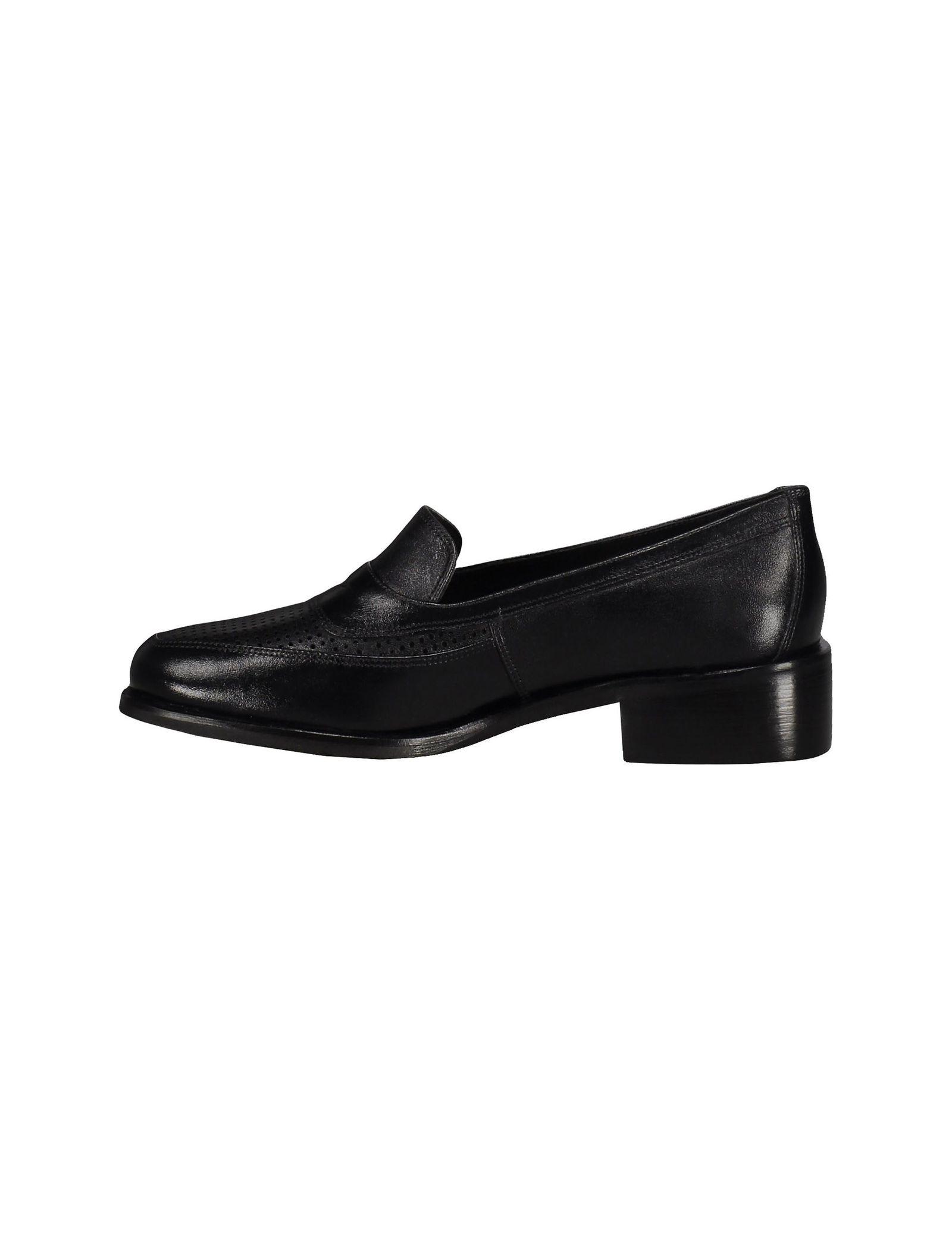 کفش چرم تخت زنانه - شهر چرم - مشکي - 3