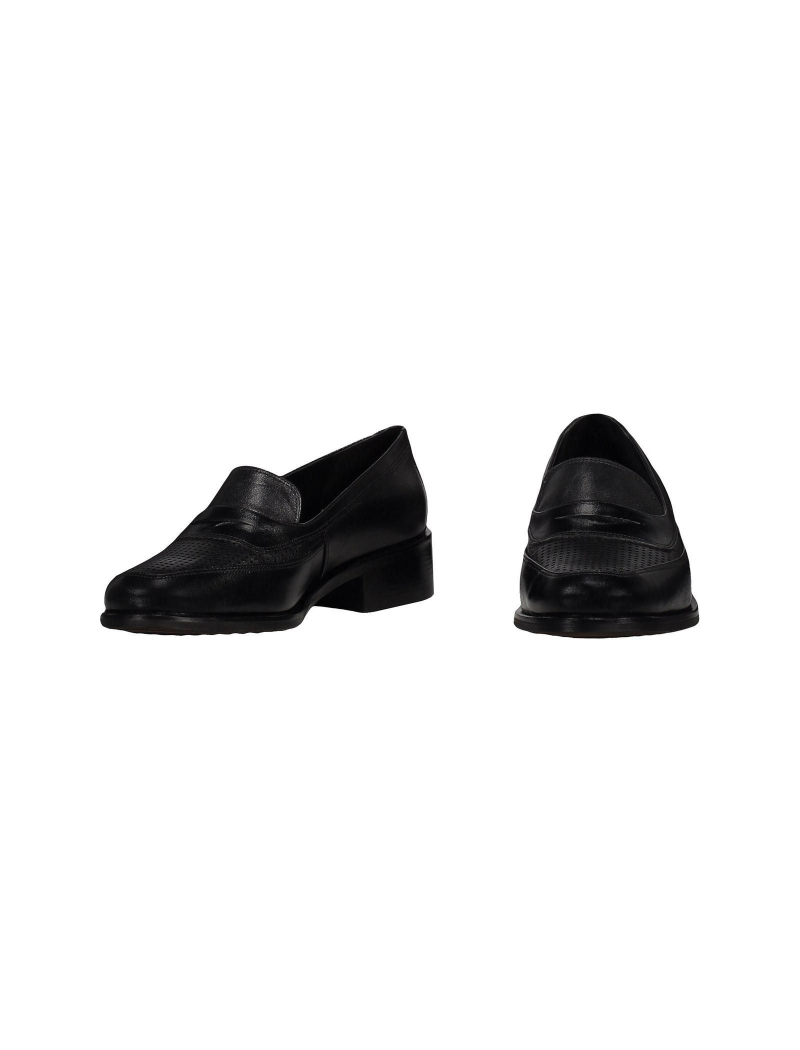 کفش چرم تخت زنانه - شهر چرم - مشکي - 4