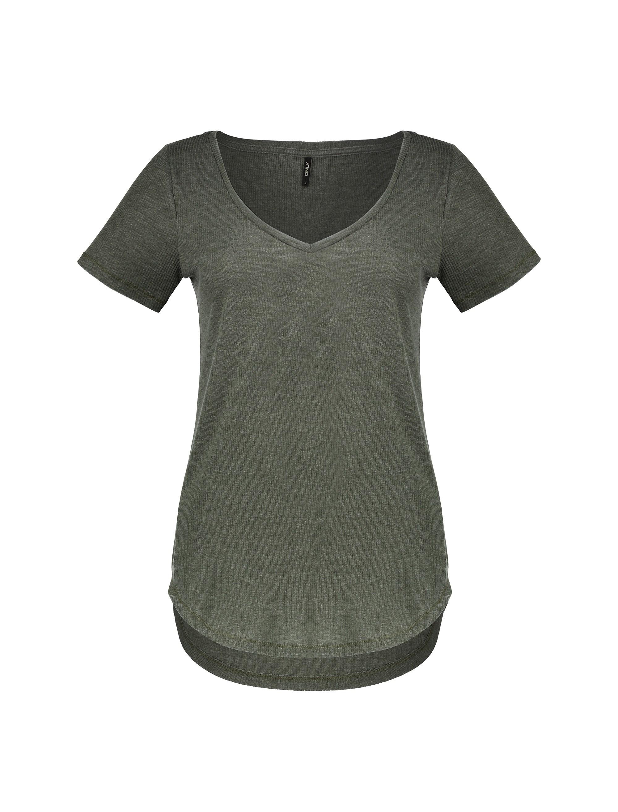 تی شرت یقه هفت زنانه - خاکستري - 1