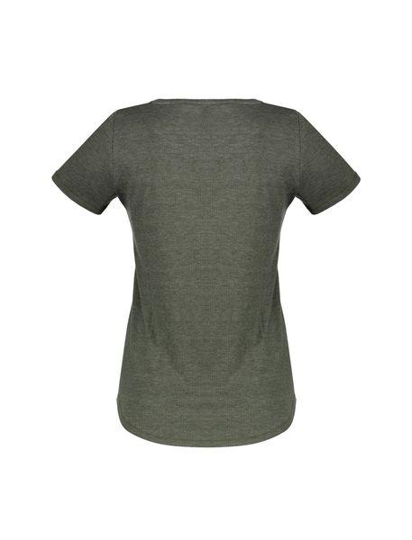 تی شرت یقه هفت زنانه - خاکستري - 2