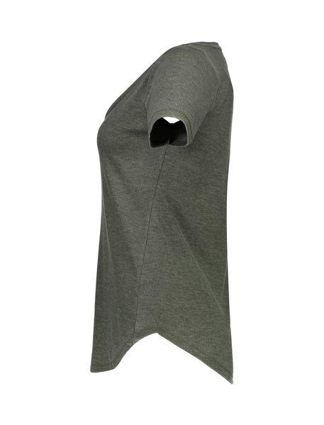 تی شرت یقه هفت زنانه - خاکستري - 4
