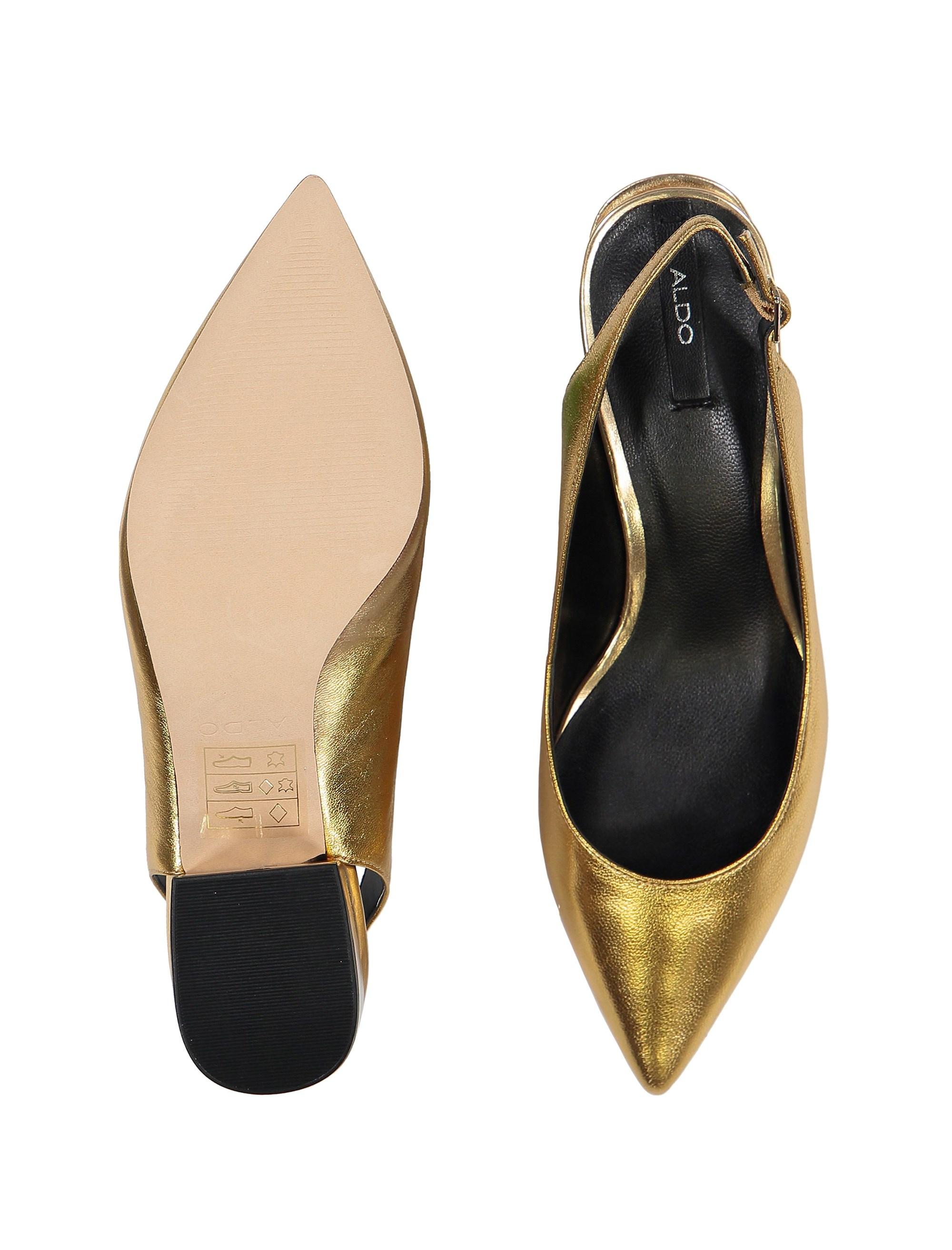 کفش پاشنه بلند چرم زنانه - آلدو - طلايي - 1