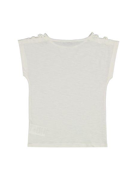 تی شرت نخی یقه گرد دخترانه - سفيد - 2
