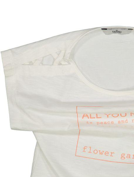 تی شرت نخی یقه گرد دخترانه - سفيد - 3