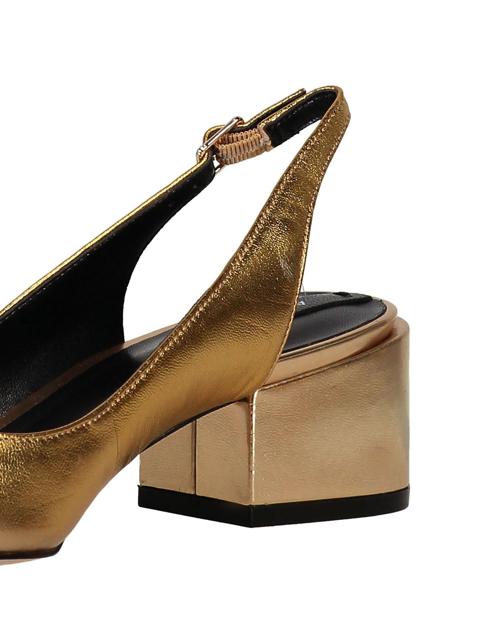 کفش پاشنه بلند چرم زنانه - آلدو - طلايي - 5