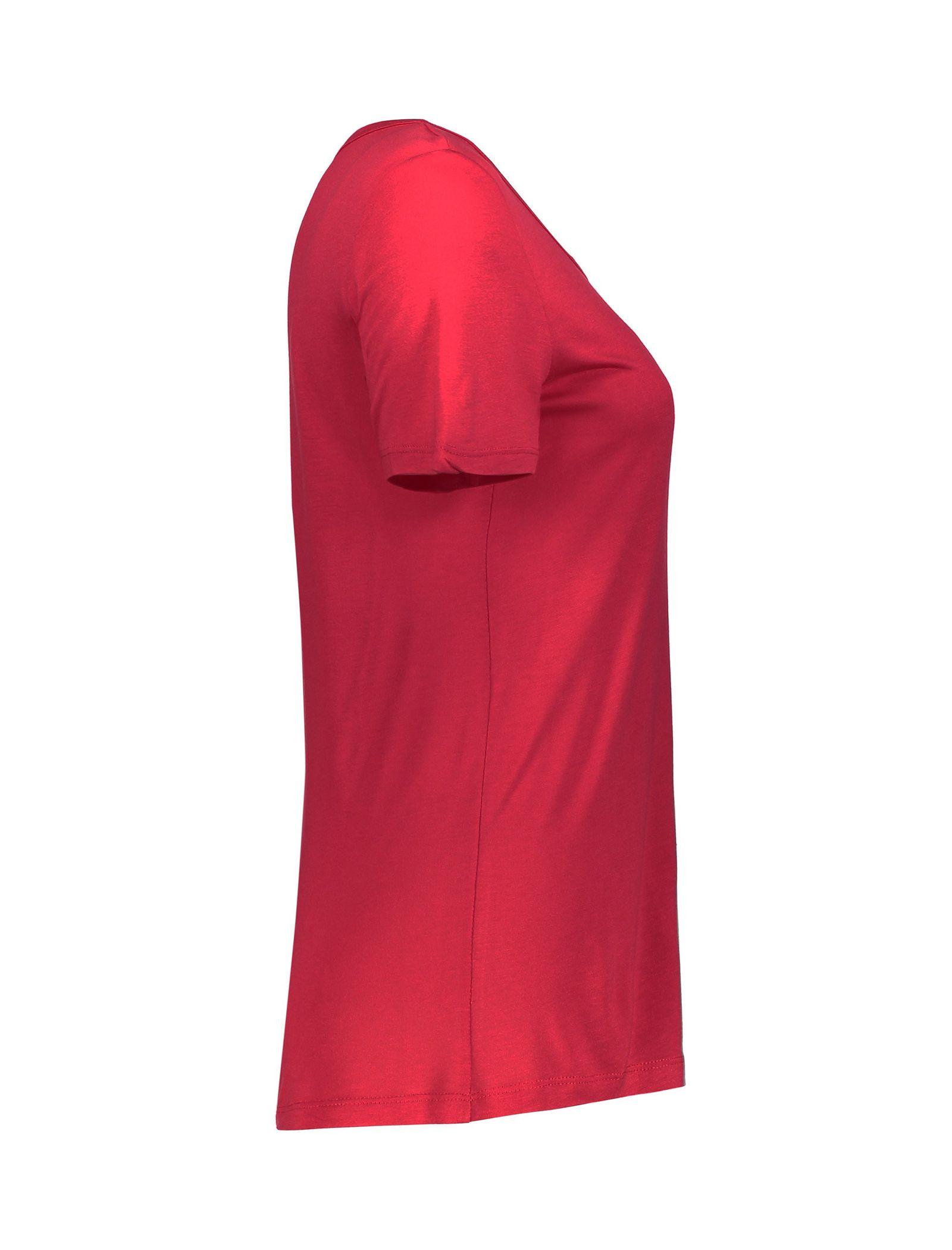 تی شرت ویسکوز یقه گرد زنانه - ال سی وایکیکی - قرمز - 3