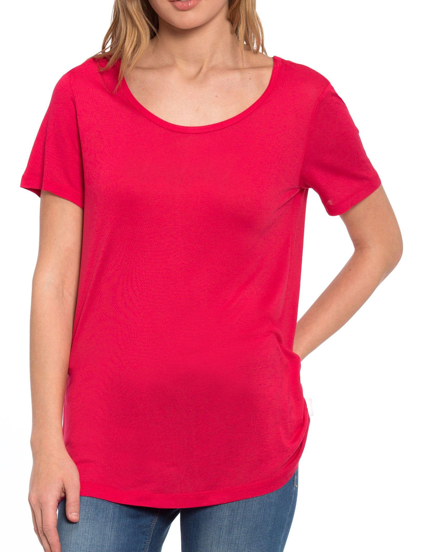 تی شرت ویسکوز یقه گرد زنانه - ال سی وایکیکی - قرمز - 6