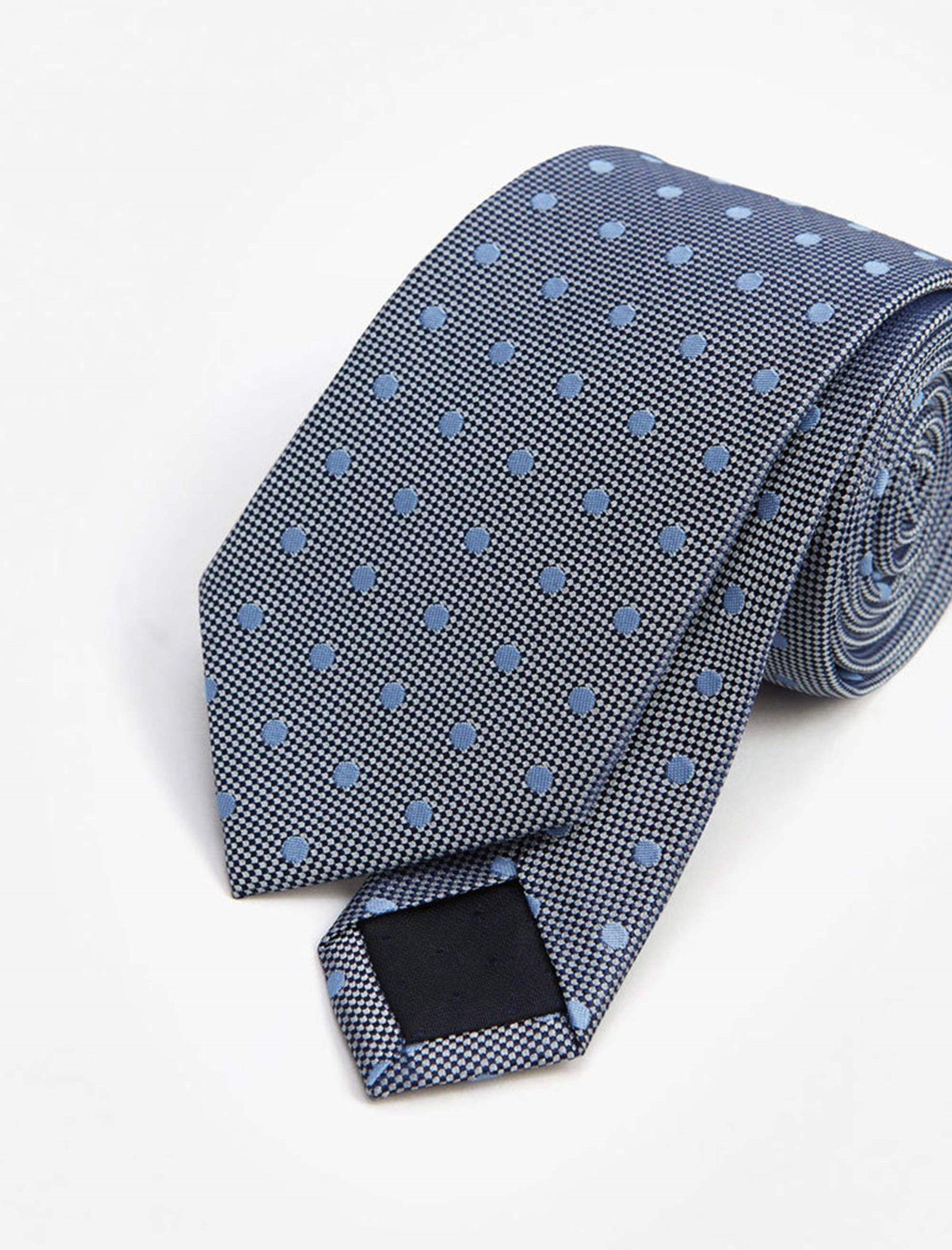 کراوات ابریشم طرح دار مردانه - مانگو - سرمه اي  - 2