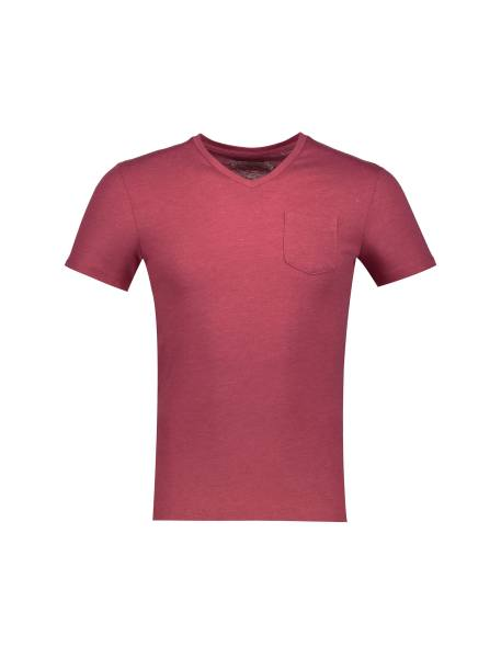 تی شرت نخی یقه هفت مردانه - قرمز - 1