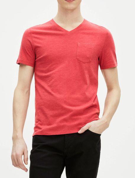 تی شرت نخی یقه هفت مردانه - قرمز - 4