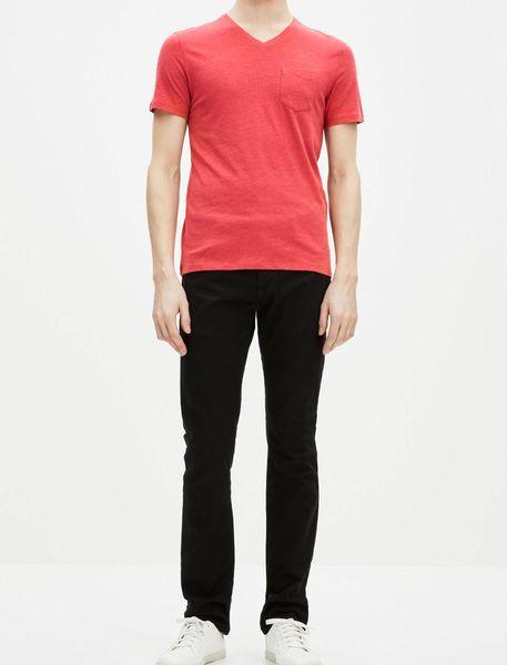 تی شرت نخی یقه هفت مردانه - قرمز - 6