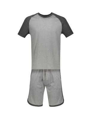 تصویر تی شرت و شلوارک راحتی نخی مردانه – سلیو