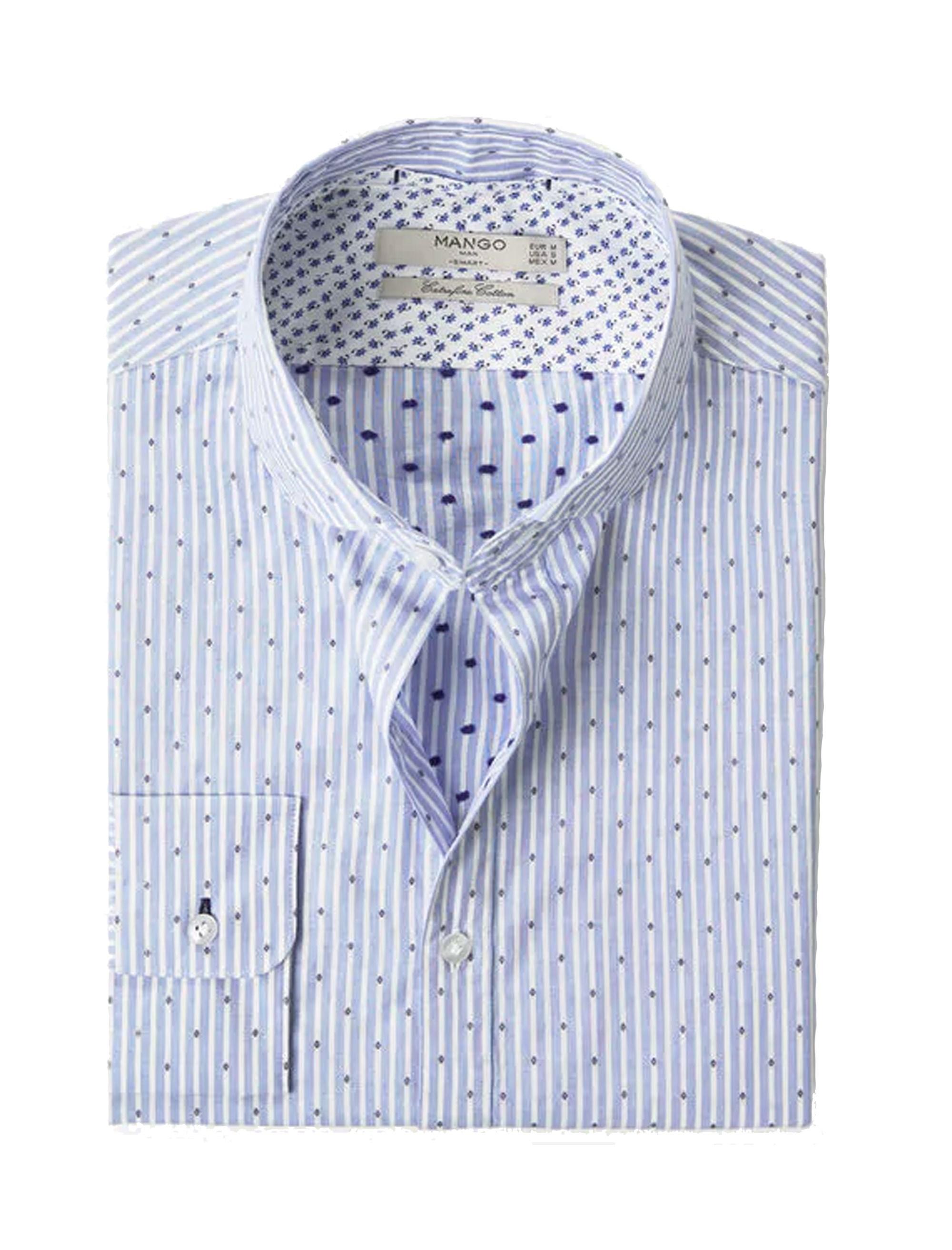 پیراهن نخی آستین بلند مردانه - مانگو - آبي آسماني - 1