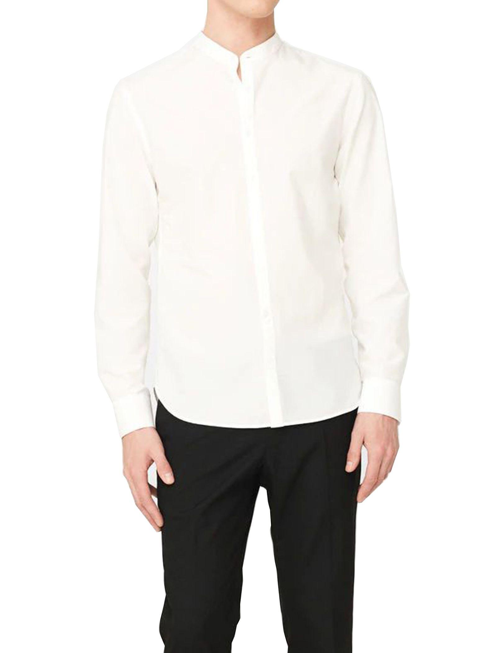 پیراهن نخی آستین بلند مردانه - مانگو - سفيد - 1