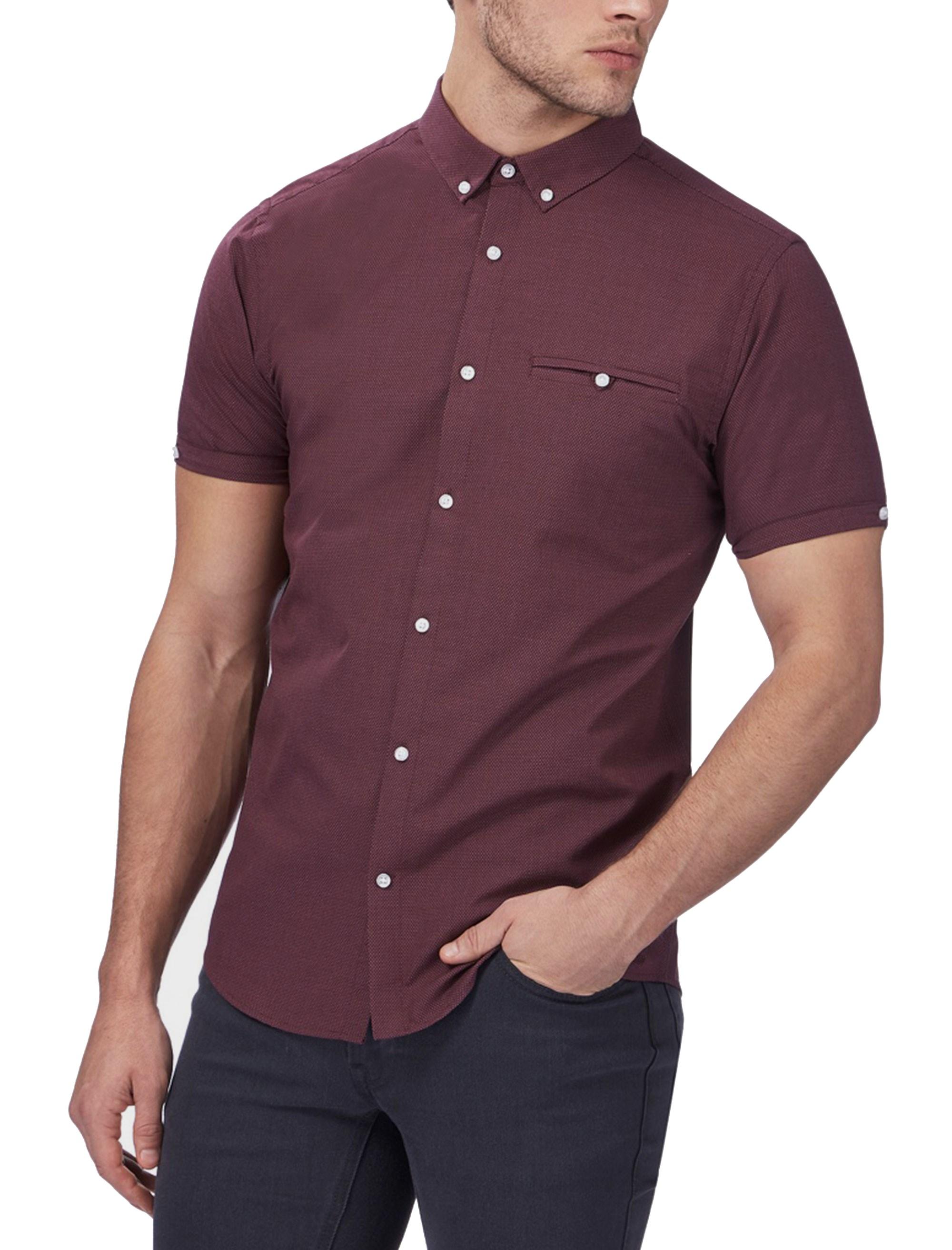 پیراهن نخی آستین کوتاه مردانه - رد هرینگ - زرشکي - 2