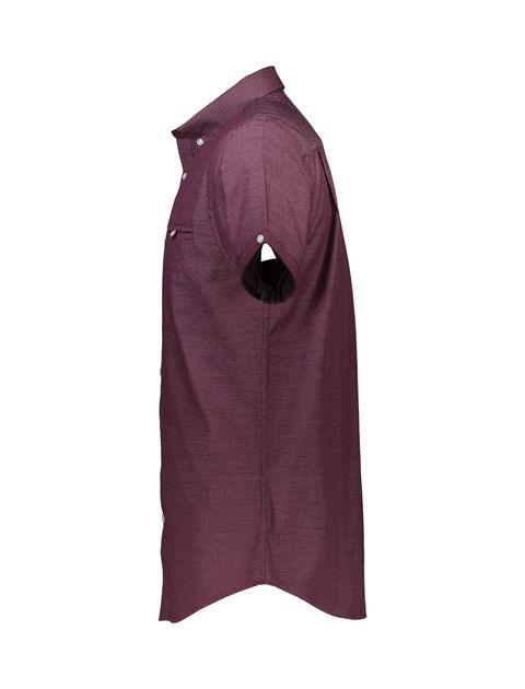 پیراهن نخی آستین کوتاه مردانه - رد هرینگ - زرشکي - 4