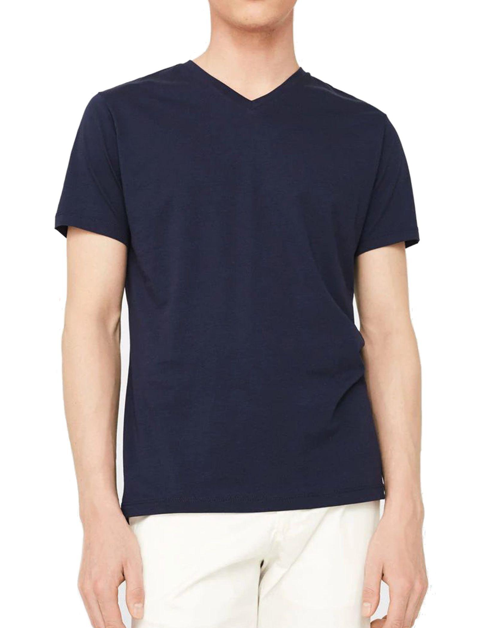 تی شرت نخی یقه هفت مردانه - مانگو - سرمه اي - 1