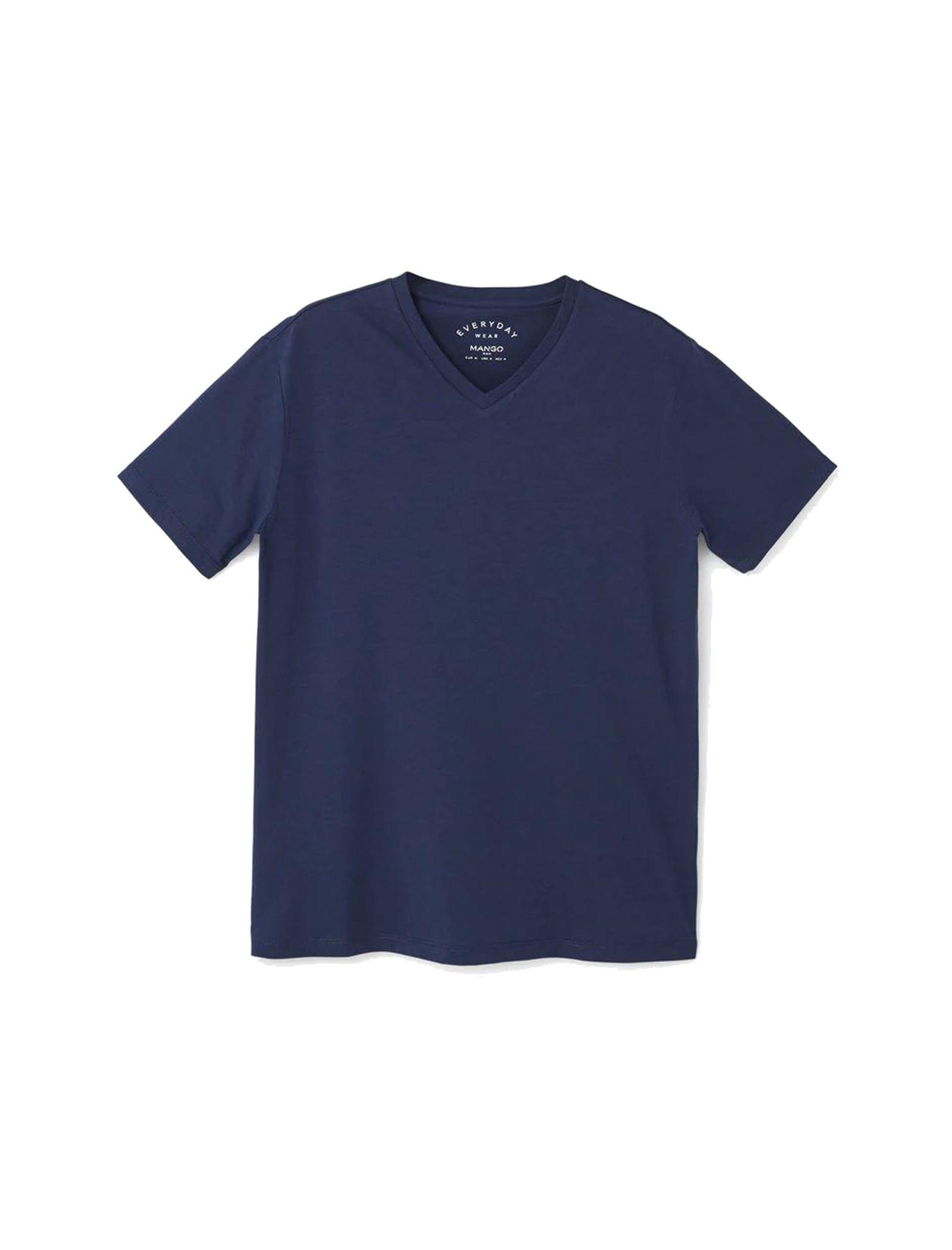 تی شرت نخی یقه هفت مردانه - مانگو - سرمه اي - 3