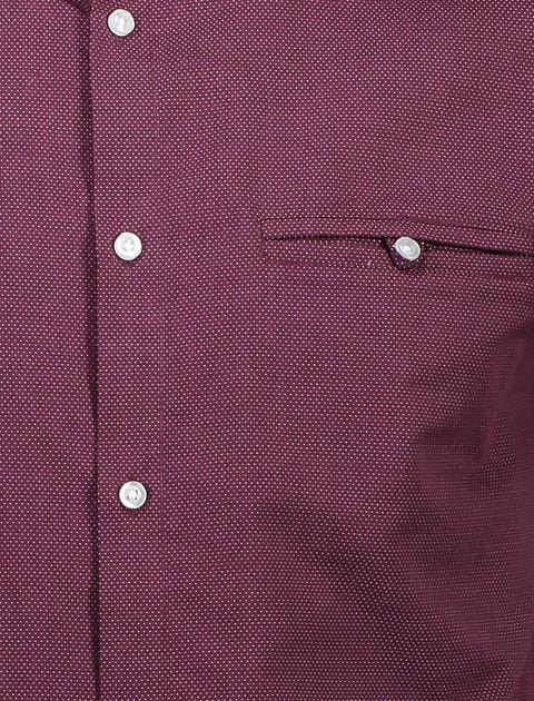پیراهن نخی آستین کوتاه مردانه - رد هرینگ - زرشکي - 6