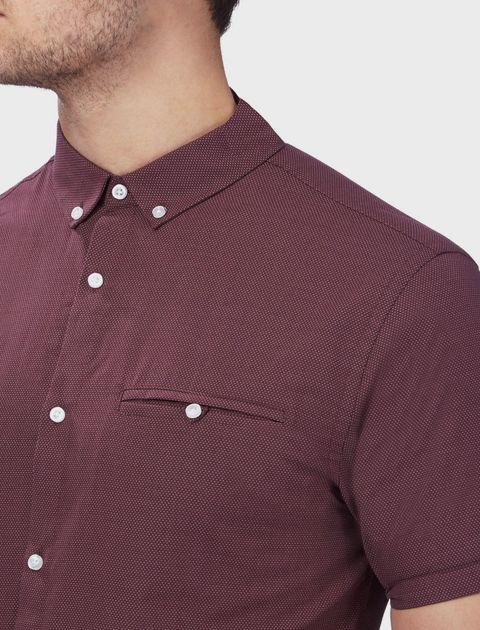 پیراهن نخی آستین کوتاه مردانه - رد هرینگ - زرشکي - 8