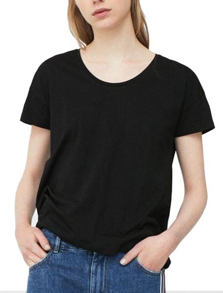 تی شرت نخی یقه گرد زنانه - مشکي - 1