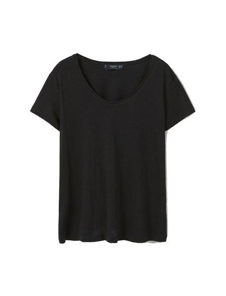 تی شرت نخی یقه گرد زنانه - مشکي - 2