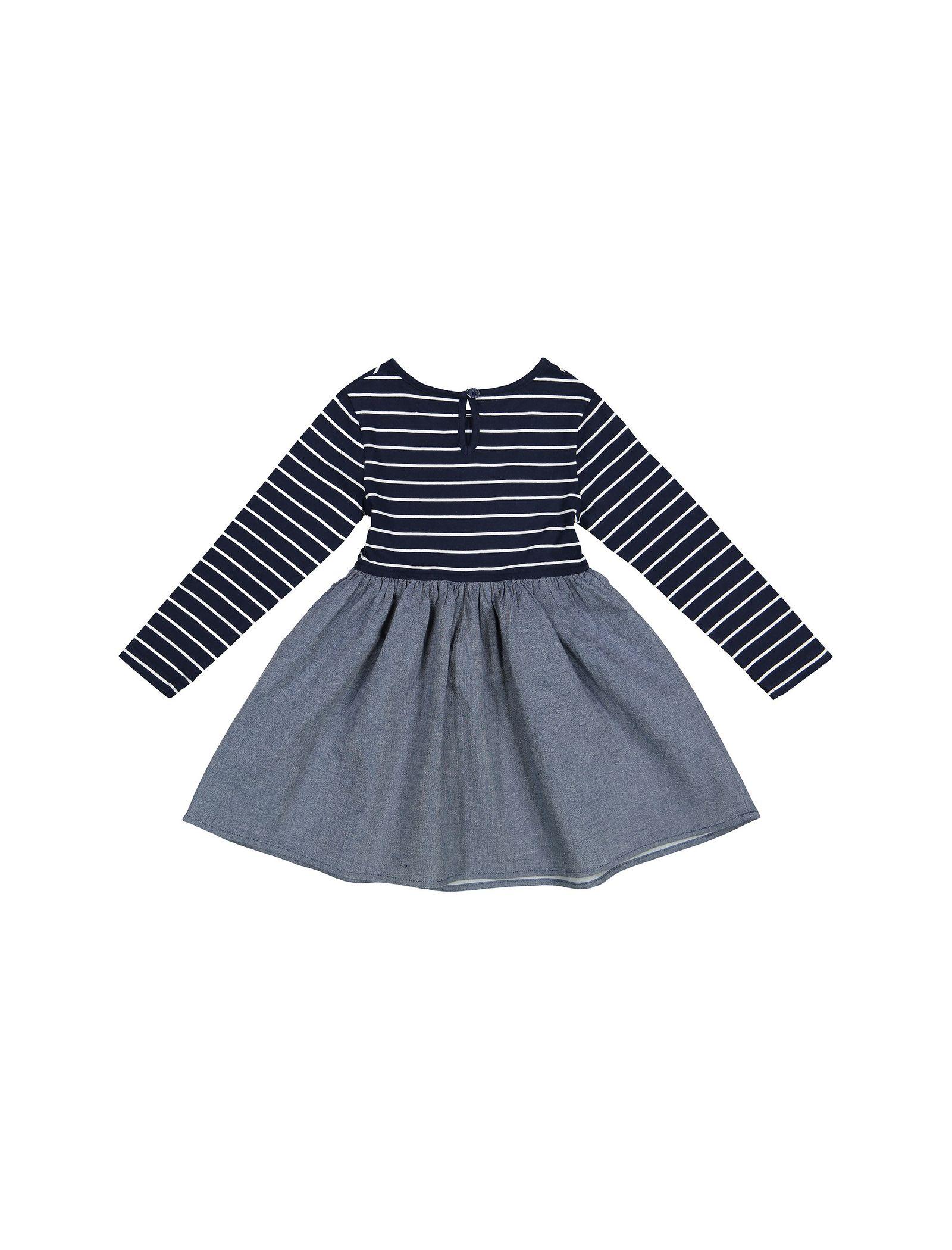 پیراهن نخی روزمره دخترانه - بلوزو - سرمه اي - 2