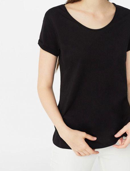 تی شرت نخی یقه گرد زنانه - مشکي - 3