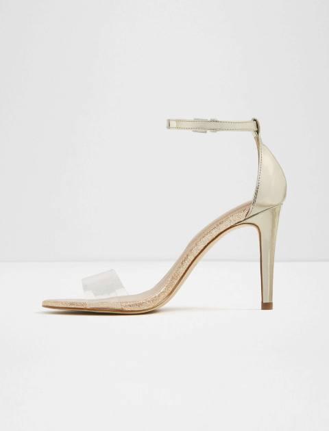 کفش پاشنه بلند زنانه - طلايي - 2